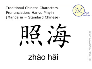 Chinese characters  ( zhao hai / zhào hăi ) with pronunciation (English translation: Kidney 6 )