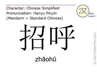 Chinesische Schriftzeichen  ( zhaohu / zhāohū ) mit Aussprache (Deutsche Bedeutung: rufen )
