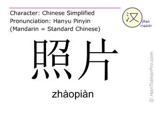 Chinesische Schriftzeichen  ( zhaopian / zhàopiàn ) mit Aussprache (Deutsche Bedeutung: Foto )