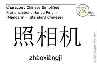 Chinese characters  ( zhaoxiangji / zhàoxiàngjī ) with pronunciation (English translation: camera )