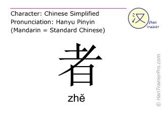 Caracteres chinos  ( zhe / zhĕ ) con pronunciación (traducción española: <m>él que</m> )