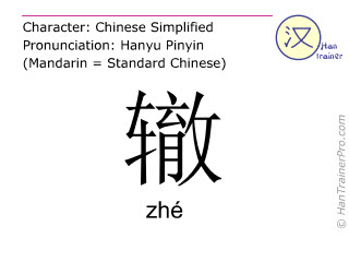 Chinese characters  ( zhe / zhé ) with pronunciation (English translation: <m>tracks of wheels</m> )