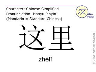 Chinesische Schriftzeichen  ( zheli / zhèlĭ ) mit Aussprache (Deutsche Bedeutung: hier )