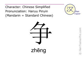 Chinesische Schriftzeichen  ( zheng / zhēng ) mit Aussprache (Deutsche Bedeutung: streiten )