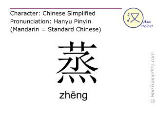 Chinesische Schriftzeichen  ( zheng / zhēng ) mit Aussprache (Deutsche Bedeutung: dampfen )