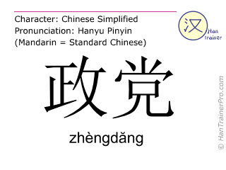 Chinese characters  ( zhengdang / zhèngdăng ) with pronunciation (English translation: party )