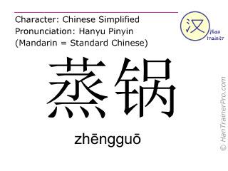 Chinese characters  ( zhengguo / zhēngguō ) with pronunciation (English translation: steamer )