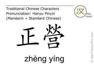 Chinesische Schriftzeichen  ( zheng ying / zhèng yíng ) mit Aussprache (Deutsche Bedeutung: Gallenblase 17 )