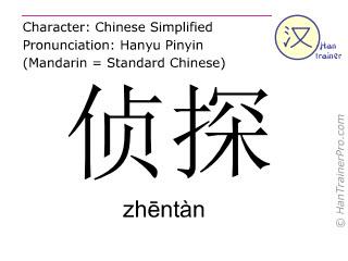 汉字  ( zhentan / zhēntàn ) 包括发音 (英文翻译: detective )