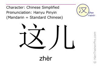 Chinesische Schriftzeichen  ( zher / zhèr ) mit Aussprache (Deutsche Bedeutung: hier )