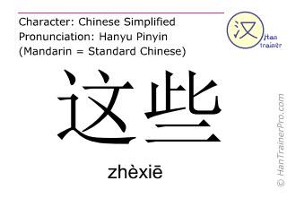 Caracteres chinos  ( zhexie / zhèxiē ) con pronunciación (traducción española: estos )