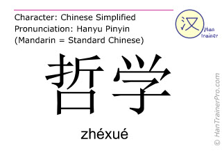 Chinese characters  ( zhexue / zhéxué ) with pronunciation (English translation: philosophy )