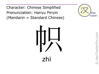 Chinesische Schriftzeichen  ( zhi / zhì ) mit Aussprache (Deutsche Bedeutung: Flagge )