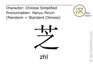 Chinese characters  ( zhi / zhī ) with pronunciation (English translation: <m>glossy ganoderma</m> )