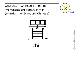 Chinese characters  ( zhi / zhì ) with pronunciation (English translation: to place )