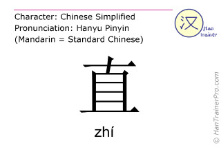 Chinese characters  ( zhi / zhí ) with pronunciation (English translation: straight )