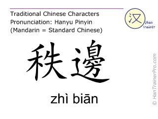 Chinese characters  ( zhi bian / zhì biān ) with pronunciation (English translation: Bladder 54 )