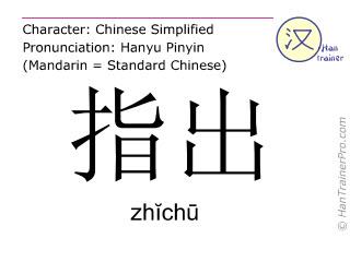 Chinesische Schriftzeichen  ( zhichu / zhĭchū ) mit Aussprache (Deutsche Bedeutung: anzeigen )