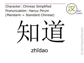 Chinese characters  ( zhidao / zhīdao ) with pronunciation (English translation: to know )