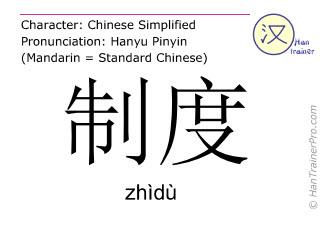 Caractère chinois  ( zhidu / zhìdù ) avec prononciation (traduction française: système )
