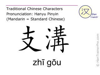Chinesische Schriftzeichen  ( zhi gou / zhī gōu ) mit Aussprache (Deutsche Bedeutung: Drei-Erwärmer 6 )