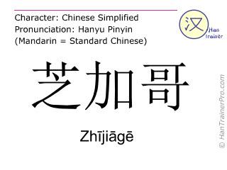 Caractère chinois  ( Zhijiage / Zhījiāgē ) avec prononciation (traduction française: Chicago )