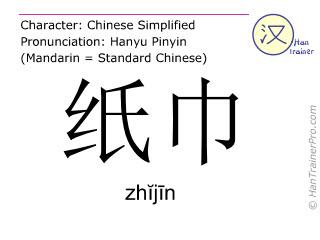 Chinesische Schriftzeichen  ( zhijin / zhĭjīn ) mit Aussprache (Deutsche Bedeutung: Gesichtspapier )