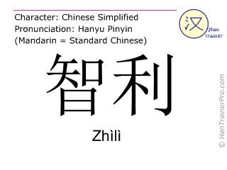 Caractère chinois  ( Zhili / Zhìlì ) avec prononciation (traduction française: Chili )