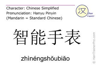 Caractère chinois  ( zhinengshoubiao / zhìnéngshŏubiăo ) avec prononciation (traduction française: montre intelligente )