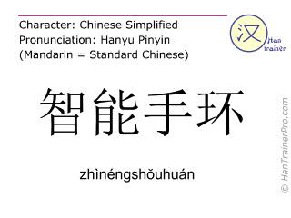 Chinesische Schriftzeichen  ( zhinengshouhuan / zhìnéngshŏuhuán ) mit Aussprache (Deutsche Bedeutung: Smart-Armband )