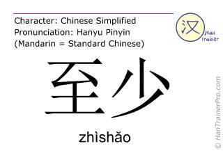Chinese characters  ( zhishao / zhìshăo ) with pronunciation (English translation: at least )