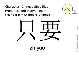 Chinese characters  ( zhiyao / zhĭyào ) with pronunciation (English translation: so long as )