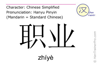 Chinesische Schriftzeichen  ( zhiye / zhíyè ) mit Aussprache (Deutsche Bedeutung: Beruf )