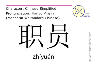 Chinese characters  ( zhiyuan / zhíyuán ) with pronunciation (English translation: office worker )