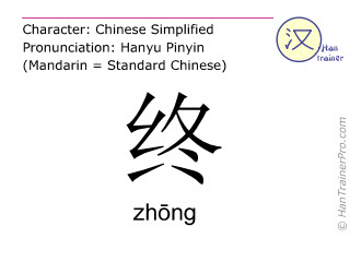Chinese characters  ( zhong / zhōng ) with pronunciation (English translation: <m>finally</m> )