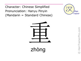 Chinese characters  ( zhong / zhòng ) with pronunciation (English translation: heavy )