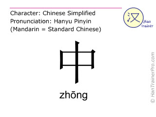 Chinese characters  ( zhong / zh&#333ng ) with pronunciation (English translation: middle )