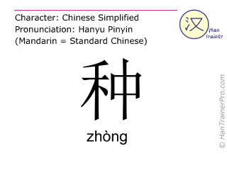 Chinese characters  ( zhong / zhòng ) with pronunciation (English translation: to plant )