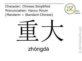 Caractère chinois  ( zhongda / zhòngdà ) avec prononciation (traduction française: important )