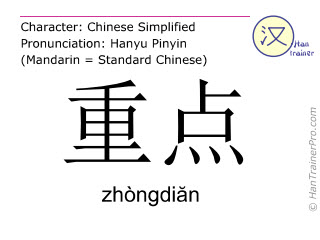 Chinese characters  ( zhongdian / zhòngdiăn ) with pronunciation (English translation: emphasis )