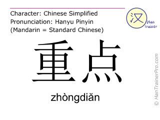 Chinesische Schriftzeichen  ( zhongdian / zhòngdiăn ) mit Aussprache (Deutsche Bedeutung: Schwerpunkt )