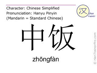 Caracteres chinos  ( zhongfan / zhōngfàn ) con pronunciación (traducción española: almuerzo )