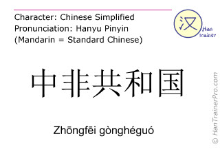 Chinese characters  ( Zhongfei gongheguo / Zhōngfēi gònghéguó ) with pronunciation (English translation: Central African Republic )