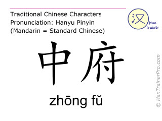 Chinese characters  ( zhong fu / zhōng fŭ ) with pronunciation (English translation: Lung 1 )
