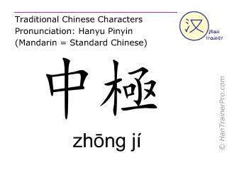 Chinesische Schriftzeichen  ( zhong ji / zhōng jí ) mit Aussprache (Deutsche Bedeutung: Ren Mai 3 )