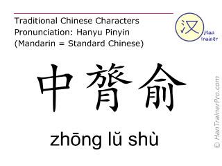 Chinesische Schriftzeichen  ( zhong lu shu / zhōng lŭ shù ) mit Aussprache (Deutsche Bedeutung: Blase 29 )