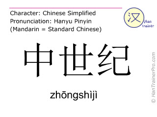 Chinese characters  ( zhongshiji / zhōngshìjì ) with pronunciation (English translation: middle age )