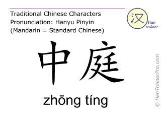 Chinesische Schriftzeichen  ( zhong ting / zhōng tíng ) mit Aussprache (Deutsche Bedeutung: Ren Mai 16 )