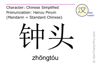 Chinese characters  ( zhongtou / zhōngtóu ) with pronunciation (English translation: hour )