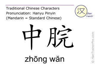Chinese characters  ( zhong wan / zhōng wăn ) with pronunciation (English translation: Ren Mai 12 )